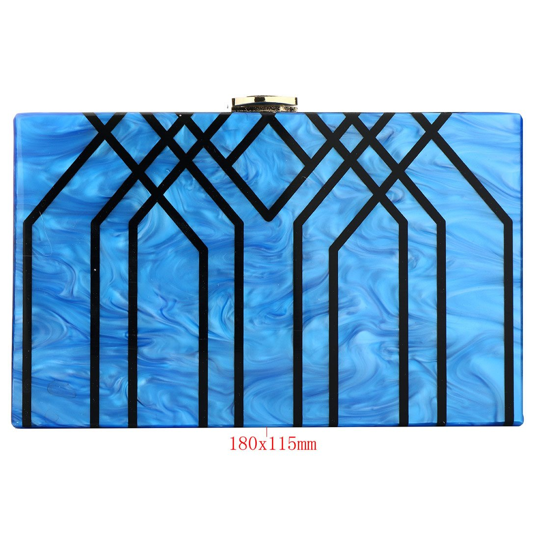 Evening Handbag Box Acrylic Clutch Stripes Shoulder Bag for Party (Black) by KNUS (Image #3)