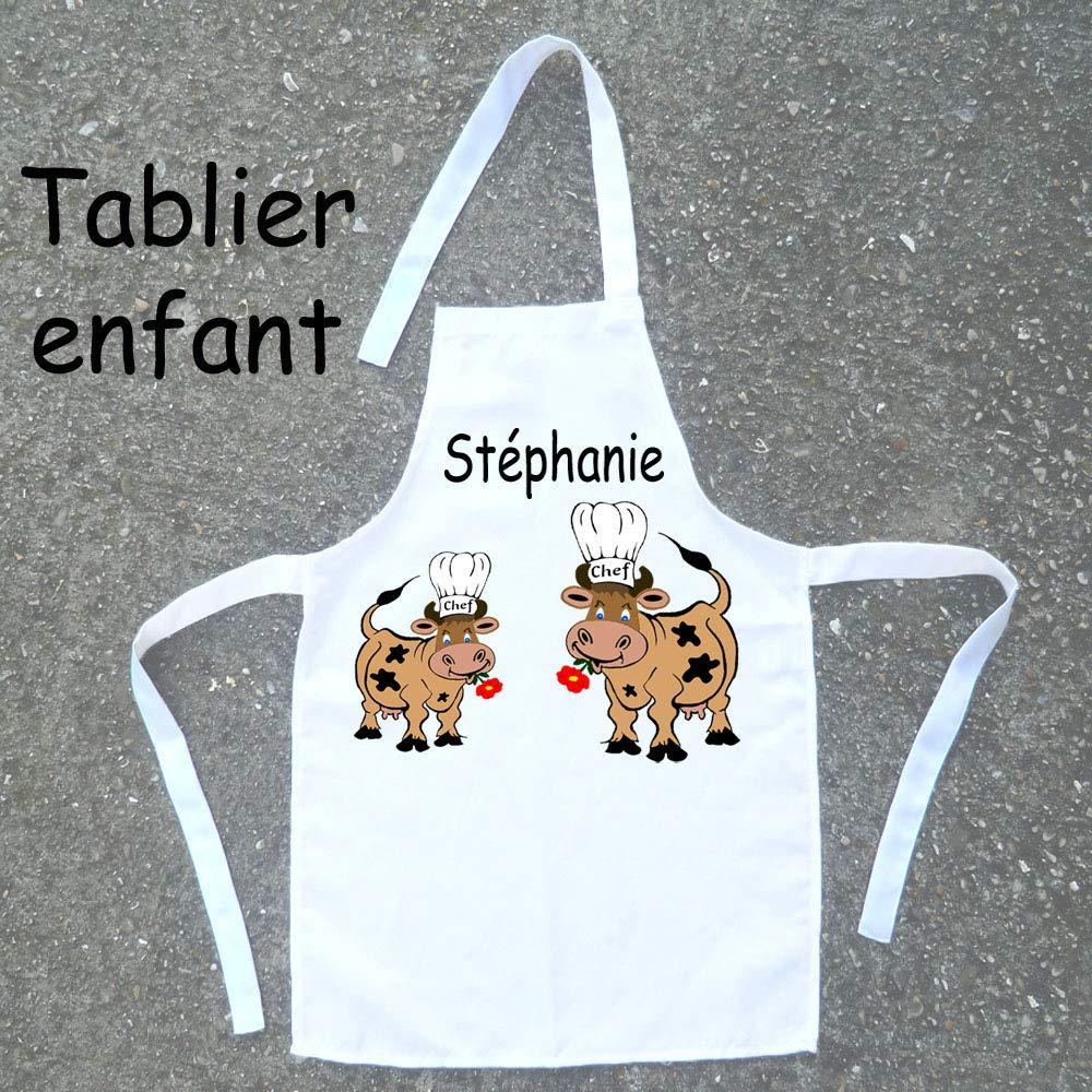 Tablier de cuisine enfant Vache à personnaliser avec un Prénom (ex. Stephanie)