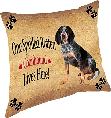 Coonhound Bluetick Spoiled Rotten Dog Throw Pillow 18×18