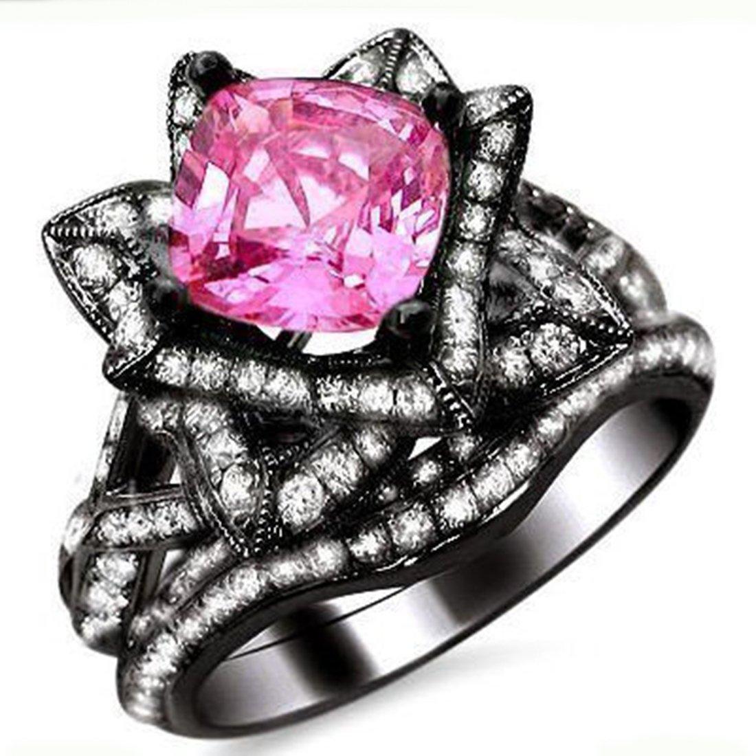 Smjewels 2.75Ct Cushion Cut Sapphire Lotus Flower CZ Diamond Ring Bridal Set 14K Black Gold Fn