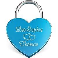 LIEBESSCHLOSS-FACTORY Candado de amor Azul grabado en forma de corazón. Caja de regalo y mucho mas.Diseña tu castillo…