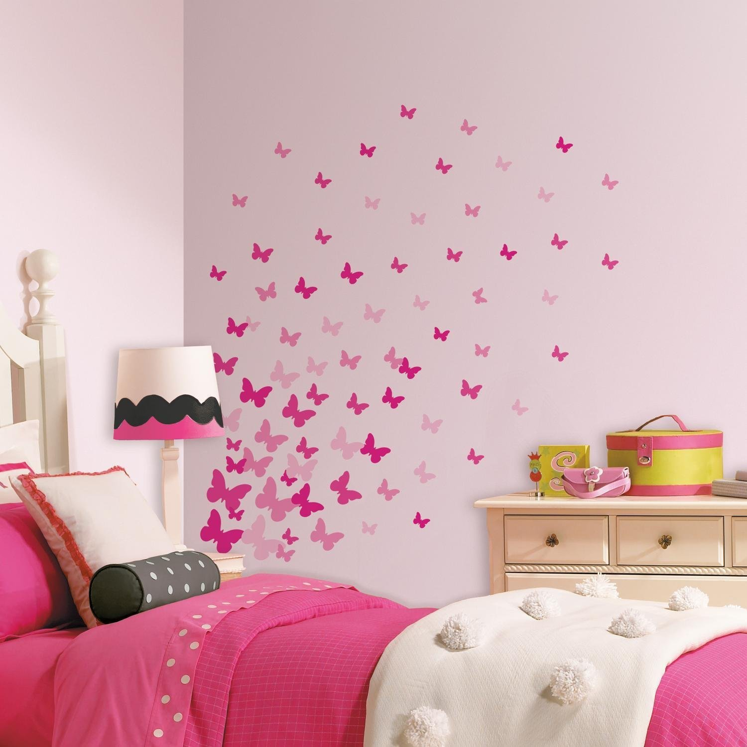 RoomMates RMK2713SCS Pink Flutter Butterflies Peel and