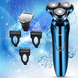 Vifycim Electric Shavers for Men, Mens Electric Razor, Dry Wet Waterproof Rotary Facial Shaver, Portable Face Shaver Cordless Razors Travel USB Rechargeable with Hair Clipper for Shaving Man