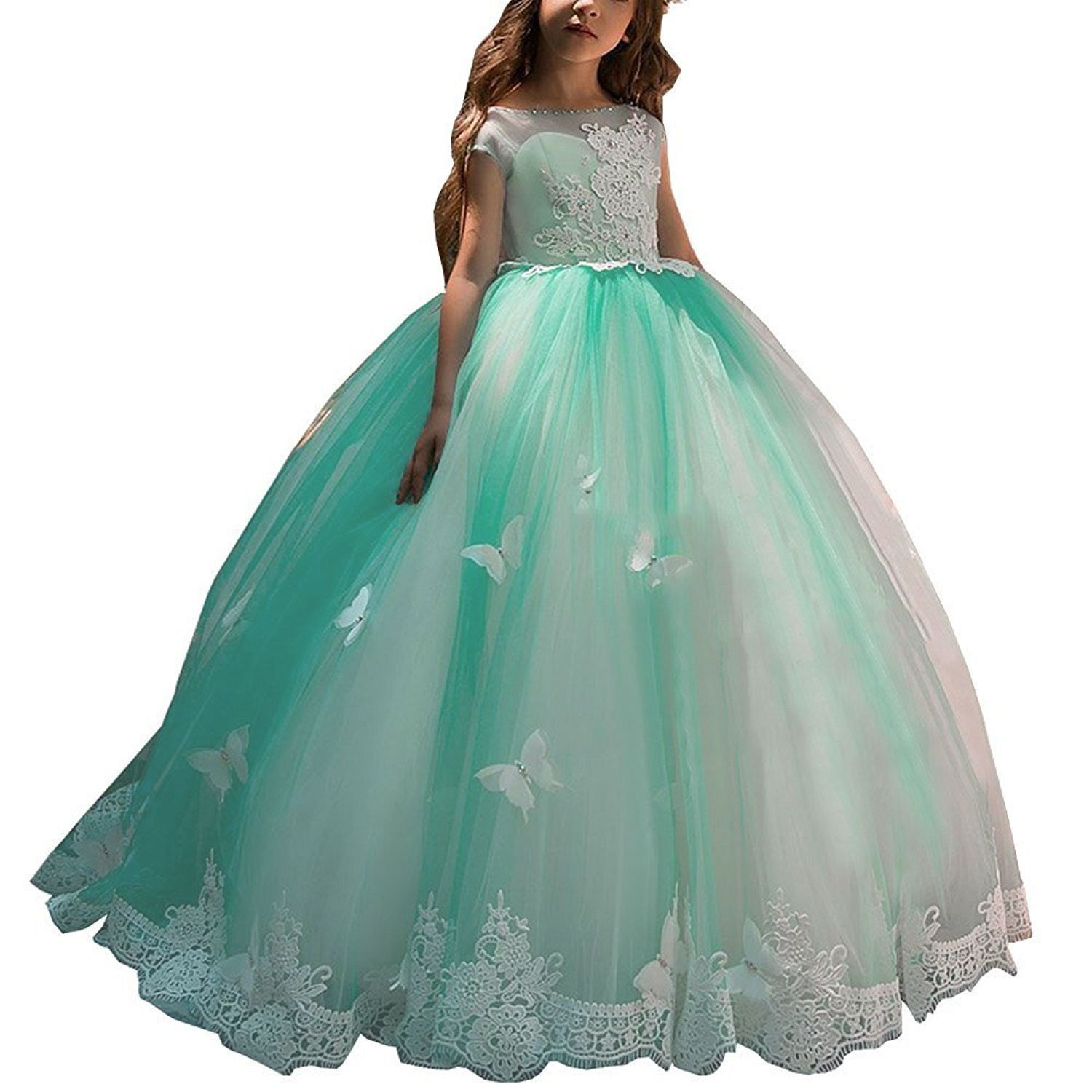 Gzcdress Puffy Kids Prom Pageant Dresses Green Long Girls Party Ball Gowns Cap Sleeves Lace Butterfly 43 Gzc43
