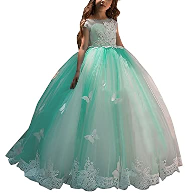 d9d3e83cf5f Amazon.com  Gzcdress Puffy Kids Prom Pageant Dresses Green Long Girls Party  Ball Gowns Cap Sleeves Lace Butterfly 43  Clothing