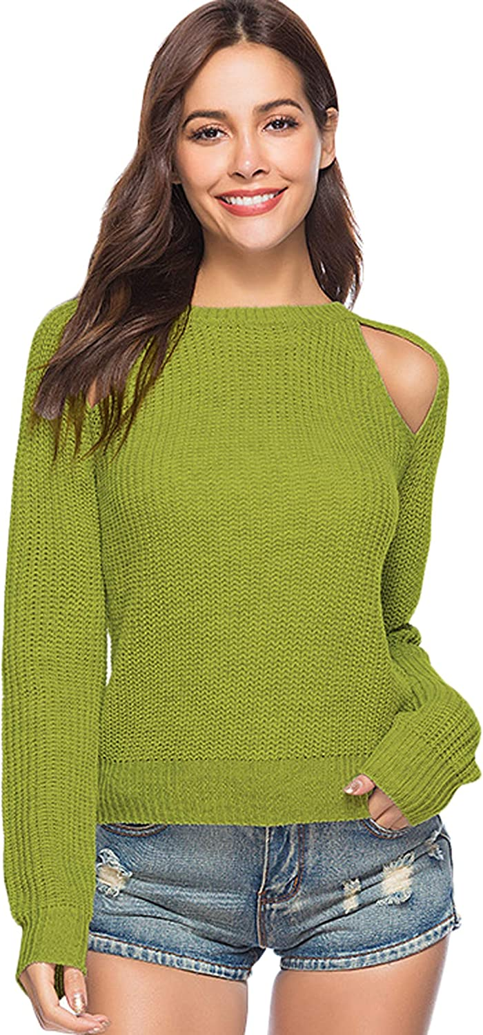 Youhan Womens Hollow Out Long Sleeve Short Knit Sweater Jumper