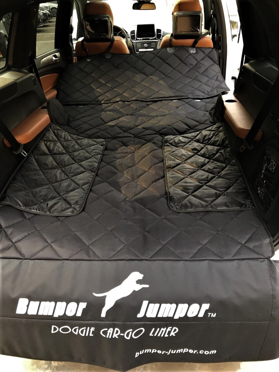 Bumper Jumper'' Deluxe Doggie SUV Cargo Trunk Liner Cover, DEEP Plush Quilted, Water Proof, Washable, Non Slip Backing, FITS Most SUVs, Protects Bumper from Doggie Scratches. (Measure Your Vehicle) by Bumper Jumper