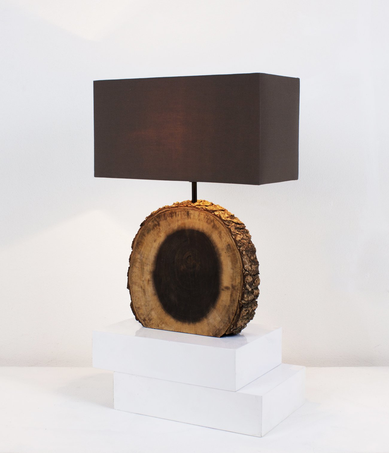 NPD O'THENTIQUE Rustic Tree Bark Table Lamp | Earthy Unfinished Natural Wood | Brown Shade Perfect as Entry Table Lamp, Sofa Table Lamp for Beach House, Cottage, Cabin, Bedroom, Living Room Decor by O'THENTIQUE