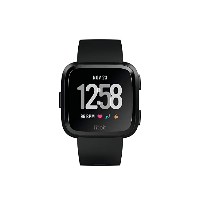 Fitbit Versa Smart Watch, Black/Black Aluminium, One Size (S & L Bands Included) (Renewed)