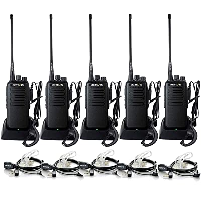 Retevis RT1 Walkie Talkies for Adults Long Range UHF High Power Long Distance Two Way Radios VOX Emergency 2 Way Radios with Earpiece(5 Pack)