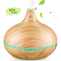Aromatherapy Diffuser, TOPELEK 300ml Essential Oil Diffuser Aroma Diffuser, Electric Ultrasonic Humidifier with Cool Mist, Waterless Auto-Off, Whisper-Quiet and 7 Colorful LED Lights - Wood Grain