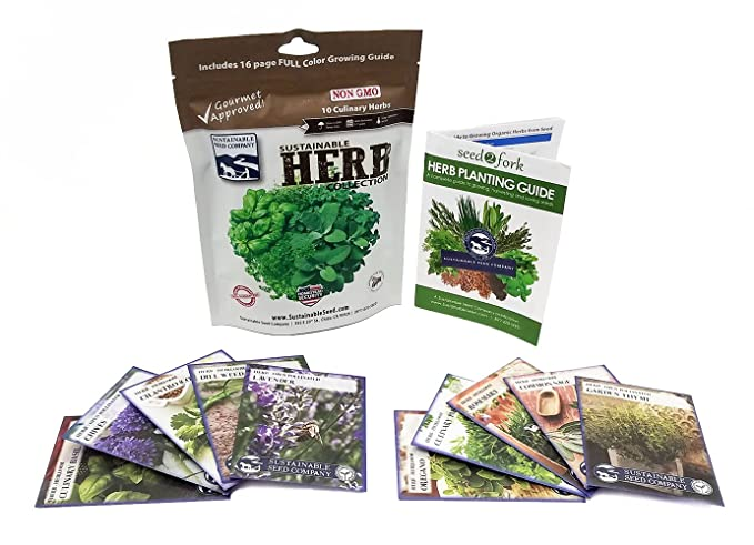 Amazon Sustainable Seed Company Variety Culinary Herb Collection 10 100 Non GMO Heirloom Basi Garden Outdoor