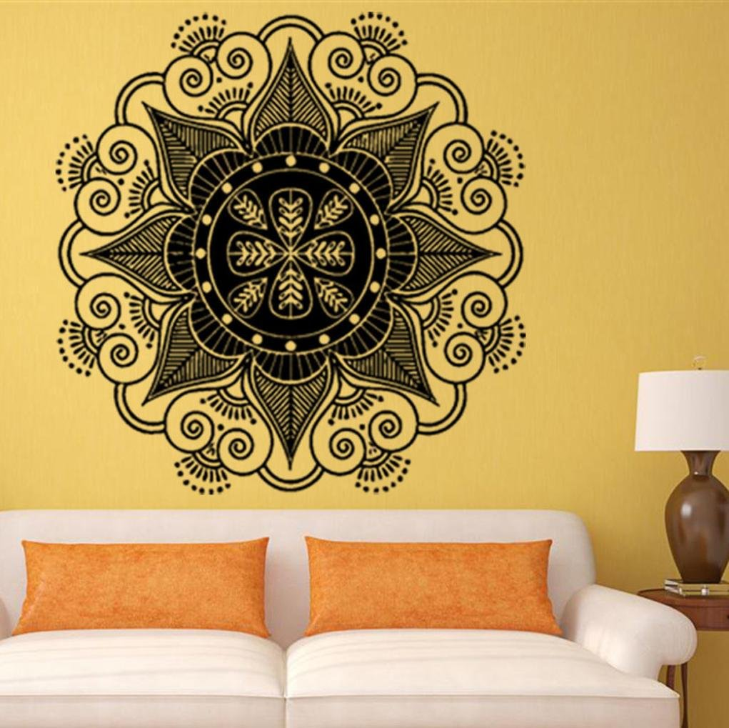 Amazon.com: Rucan Wall Stickers, Mandala Flower Indian Bedroom Wall ...