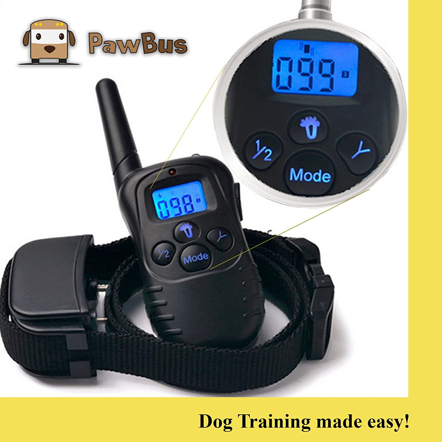 Pawbus – The Best Dog Training Collar w Anti Bark Functionality – Remote Control – Rechargeable – Water Resistant – 2017 Version