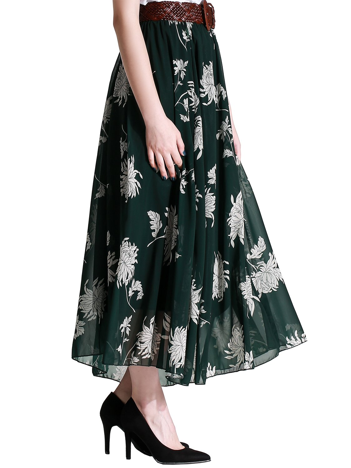 Florboom Summer Flowy Floral Chiffon Long Skirts for Women (Dark Green,X-Large)