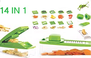 Vegetable Chopper & Peeler Set Food Slicer Dicer Stainless Steel Multifunction Interchangeable Blades Include Food Container Ideal for Fruit Potato Tomato Salad Onion-Kitchen Cutter
