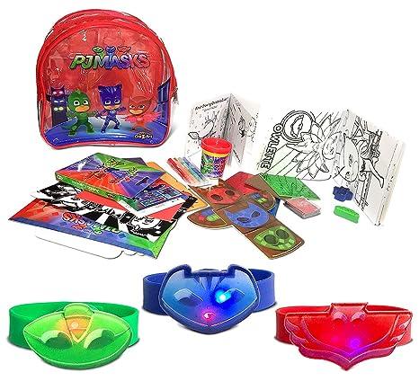 Warp Gadgets Bundle - Pj Masks Red, Blue And Green Owlette Light Up Debossed Rubber