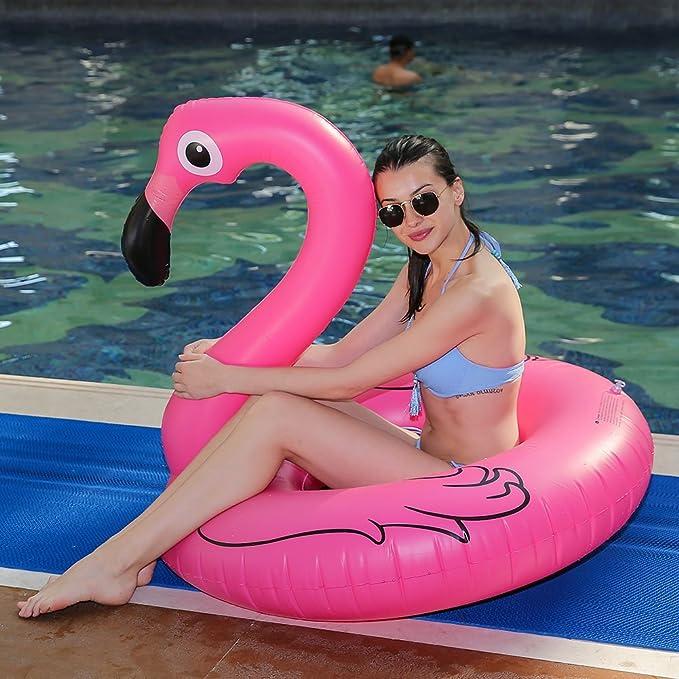 Flamenco Hinchable colchonetas piscina Flotador - WISHTIME Gigante Flamenco para Piscina Juguete Veraniego Inflable Juguete para Fiestas Playa de ...