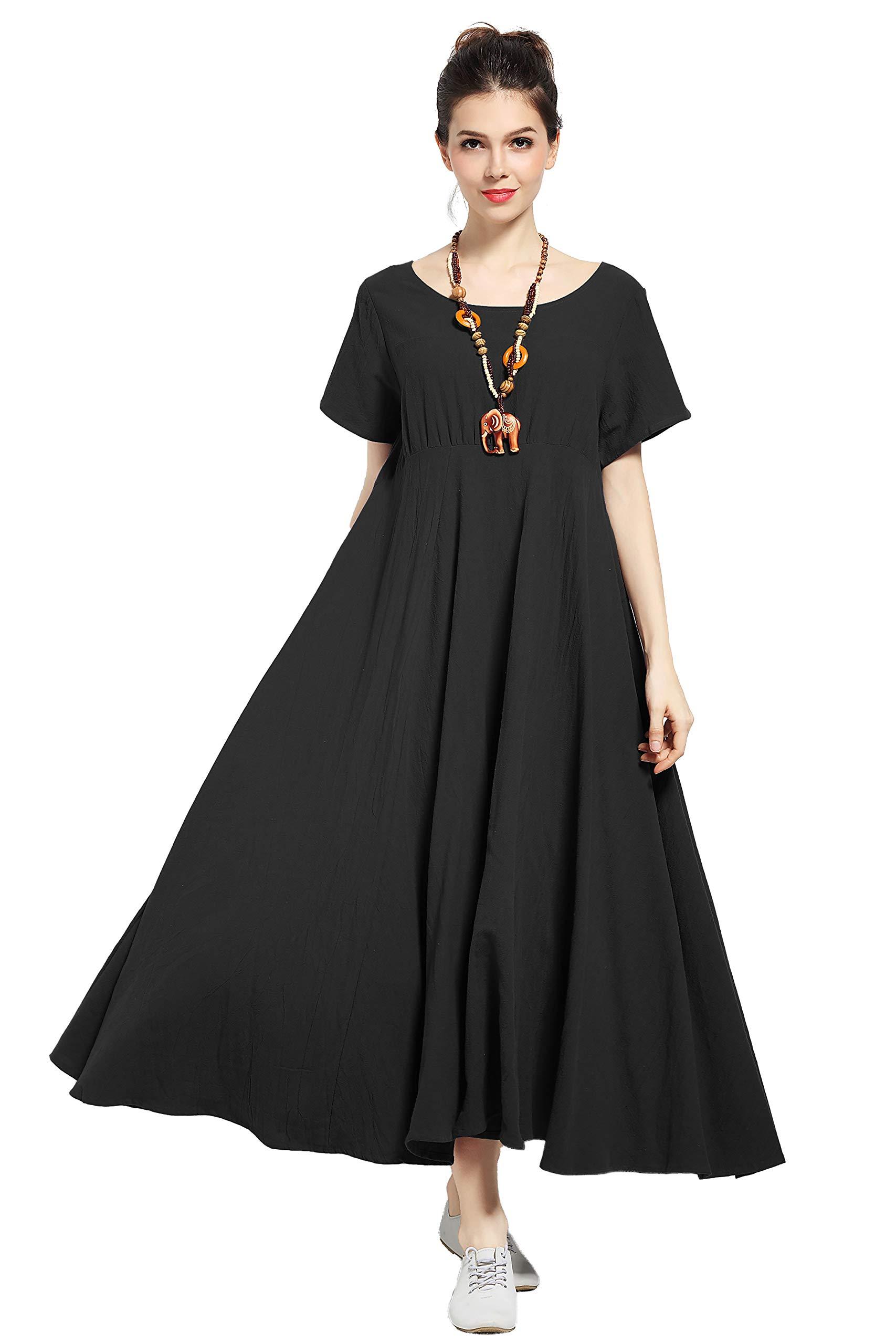 Anysize New Version Soft Linen Cotton Spring Summer Dress Plus Size Dress Y6 Black by Anysize