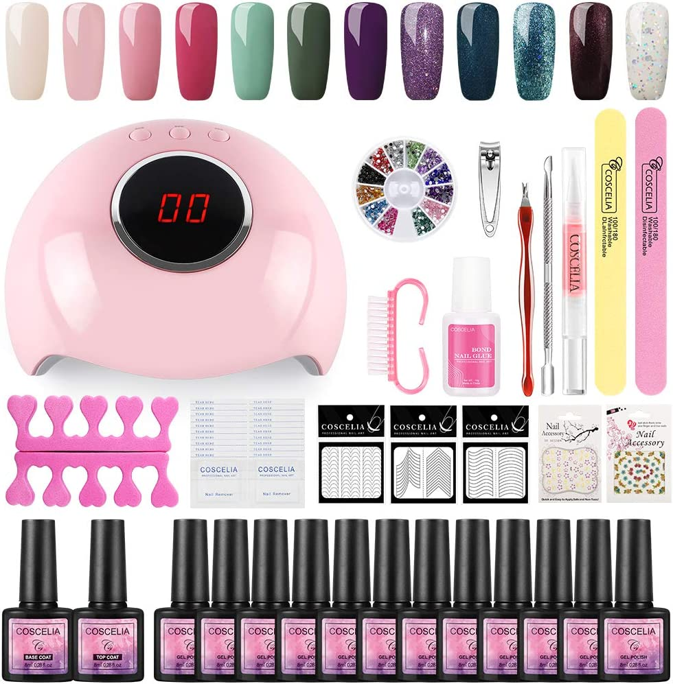 Esmaltes de Uñas 12pcs Kit de Esmaltes Semipermanentes para Uñas Soak off 8ml Lamparas 24W UV/LED para Uñas de Gel Base Coat Top Coat Accesorio de Mancura Pedicura Kit