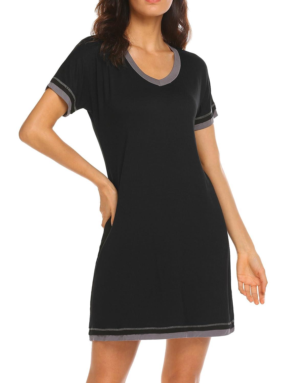 cc034a89 Ekouaer Sleepwear Women's V Neck Nightshirt Cotton Casual Sleepwear Short  Sleeve Nightgown S-XXL