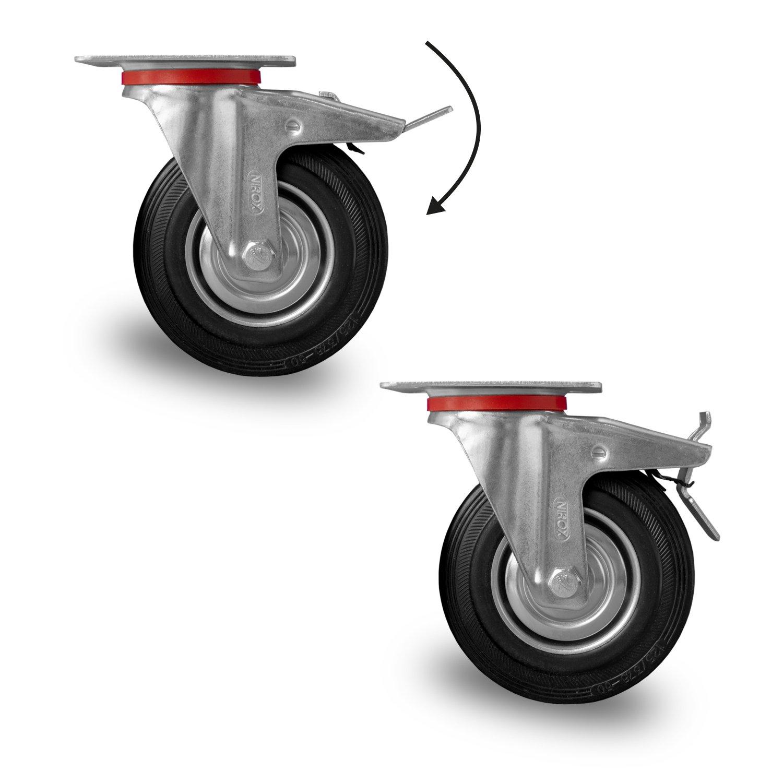 Cases, Racks & Taschen Offen 8 Stück 160 Mm Sl Gummi Rollen Blue Wheel Transportrollen Lenkrollen Lenkrolle