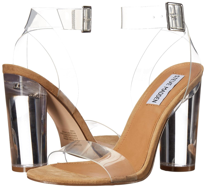 Steve Madden Women's Clearer Transparent Lucite Heel Dress Sandal - DeluxeAdultCostumes.com