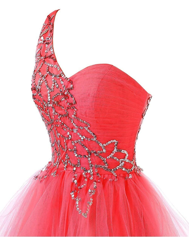 Olidress Women's One Shoulder Short Beaded Prom Homecming Dress