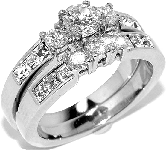 Stainless Steel Prong-Set Circle Flower Comfort Fit Fancy Ring with Clear CZ