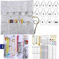 Exquiss Knitting Needles Set-11 Pcs 11 Sizes Stainless Steel Circular Knitting Needles+9 Pcs 9 Sizes Aluminum Crochet…