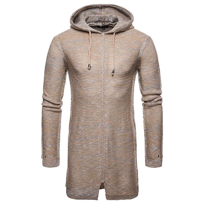 Suéter de Punto Largo de los Hombres, ♚ Absolute otoño Invierno con Capucha de Punto