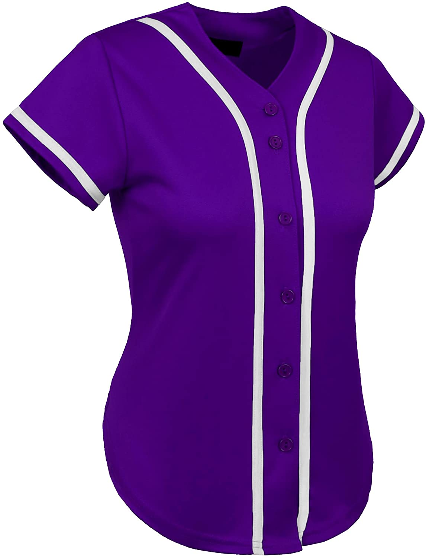 UP Womens Baseball Button Down Athletic Tee Short Sleeve Softball Jersey Active Plain Sport T Shirt