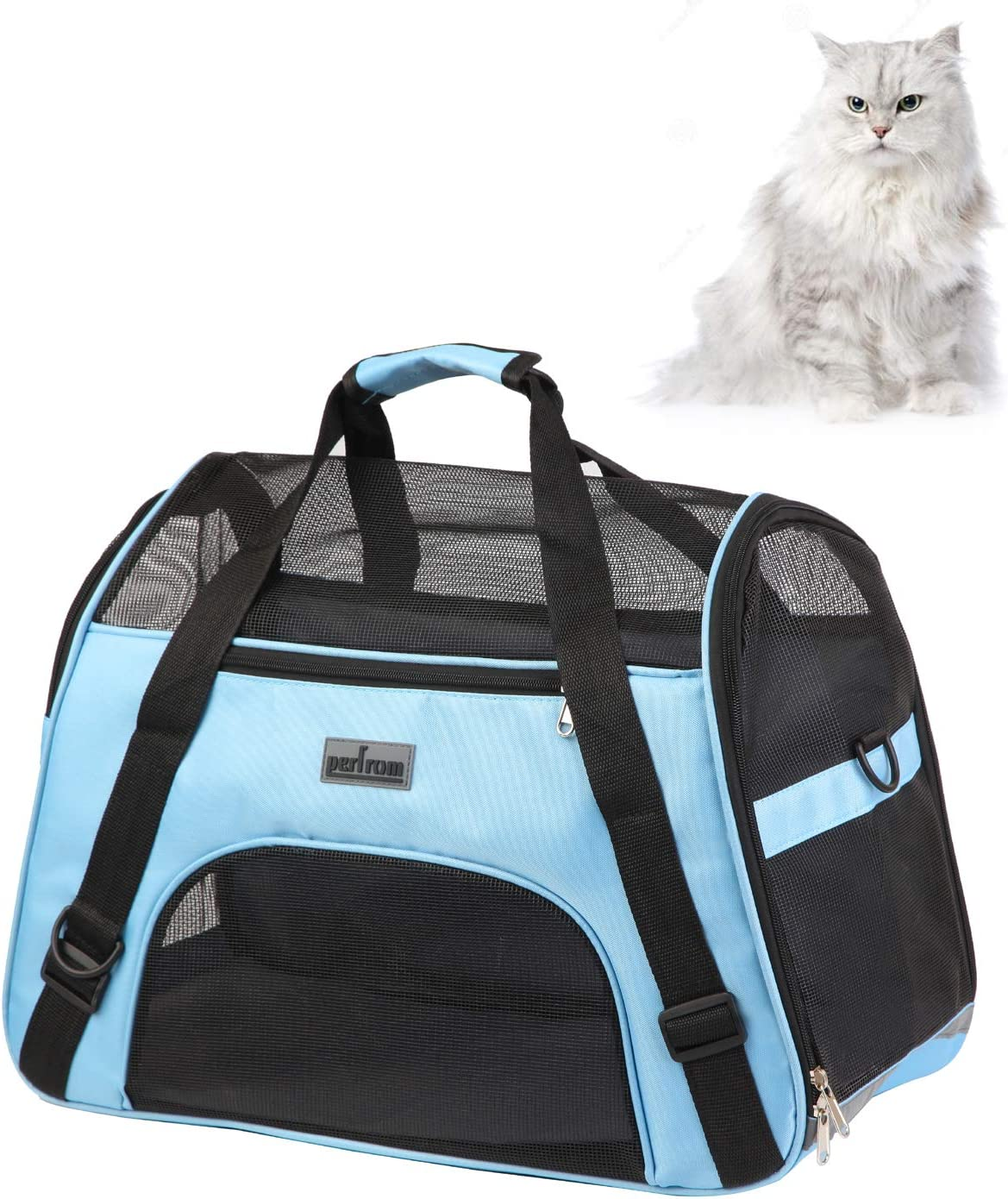 Soft Pet Carrier Airline Approved Soft Sided Pet Travel Carrying Handbag Under Seat Compatibility, Perfect for Small Cats and Small Dogs Breathable 4-Windows Design-Small Size(Blue) : Pet Supplies
