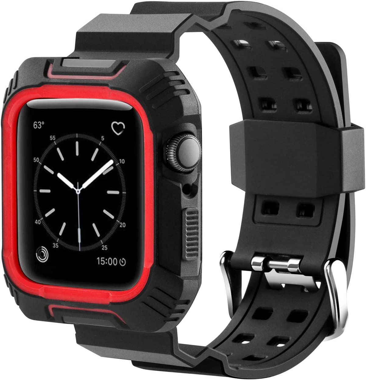 MAIRUI Compatible with Apple Watch Band Case 42mm Wristband Strap Rugged Protective Replacement for Apple Watch Series 3/2/1, iWatch Sport/Edition (Black&Red)