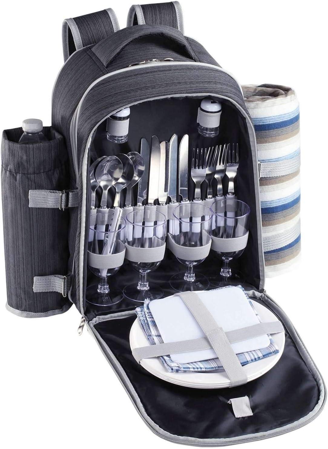 Mochila de pícnic con compartimento refrigerador, vajilla de camping y cubiertos (bolsa de picnic para 4 personas, bolsa refrigeradora, recipiente ...