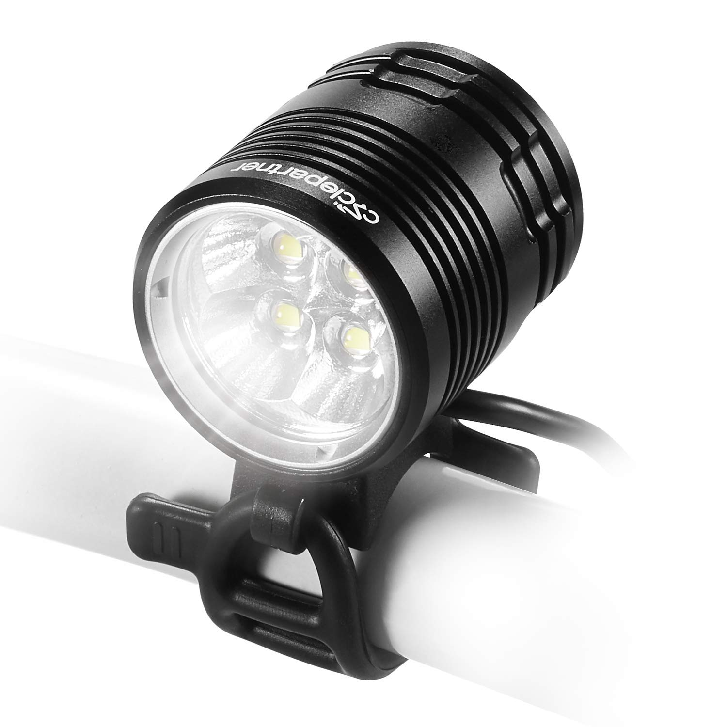 CYCLEPARTNER Discovery-3000 4LED Ultra Powerful 3000 Lumens Mountain Bike Light for MTB with 8800mAh Battery Pack Up to 7 Hours IP65 Waterproof