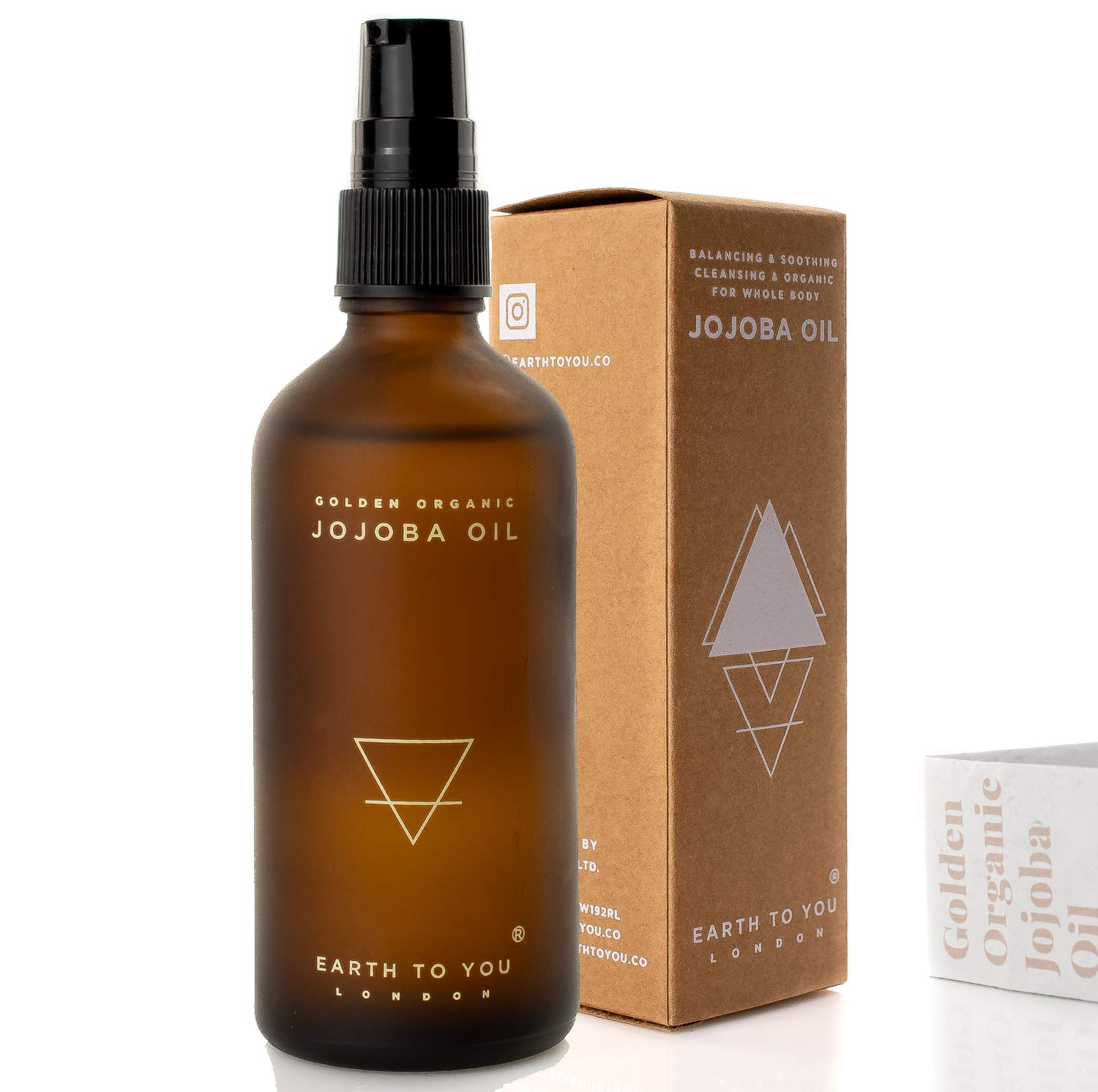 Golden Organic Jojoba Oil For Face, Body, Stretch Marks, Sensitive Skin. Cold Pressed, Pure By Earth To You London
