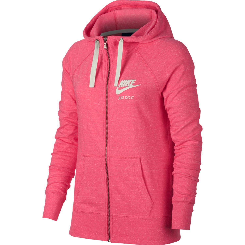 Nike Womens Gym Vintage Full Zip Hooded Sweatshirt Pink Nebula/Sail 883729-622 Size Medium
