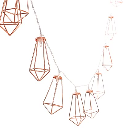Lings Moment 5Ft Rose Gold Geometric Boho LED Bedroom Fairy Lights Battery Powered Metal Cage String