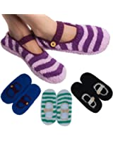 4 Pairs Ladies Mary Jane Warm Slipper Socks Fuzzy Non Skid Assorted Colors One Size Anti Slip For Women