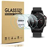 Diruite 4-Pack for Garmin Fenix 5 / Fenix 5 Plus Tempered Glass Screen Protector for Fenix 5 [2.5D 9H Hardness] [Anti-Scratch] [Bubble-Free] - Permanent Warranty Replacement
