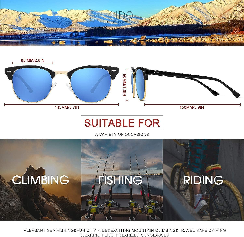 FEIDU Retro Polarized Mens Sunglasses for Men Half Metal Women FD3030