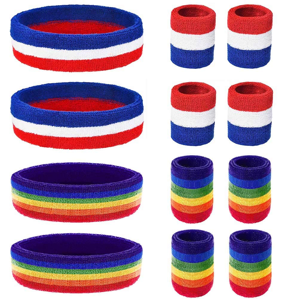 ZYXY Sweatband Set,12pcs Striped Sweatbands 4pcs Sports Headband and 8pcs Tennis Wristband Moisture Wicking Sweat Absorbing Head Band for Athletic Exercise Basketball