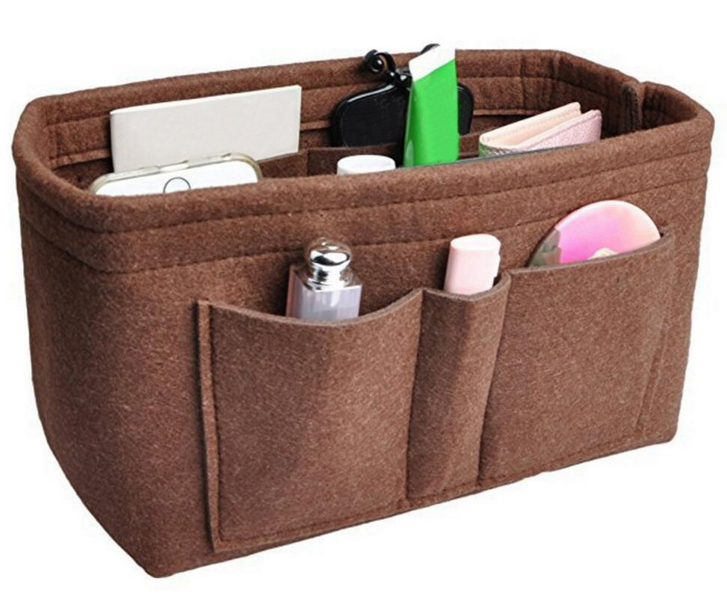 Foucome Felt Insert Purse Organizer Handbag Cosmetic Multi-Pocket Insert Bag for Women Brown Medium