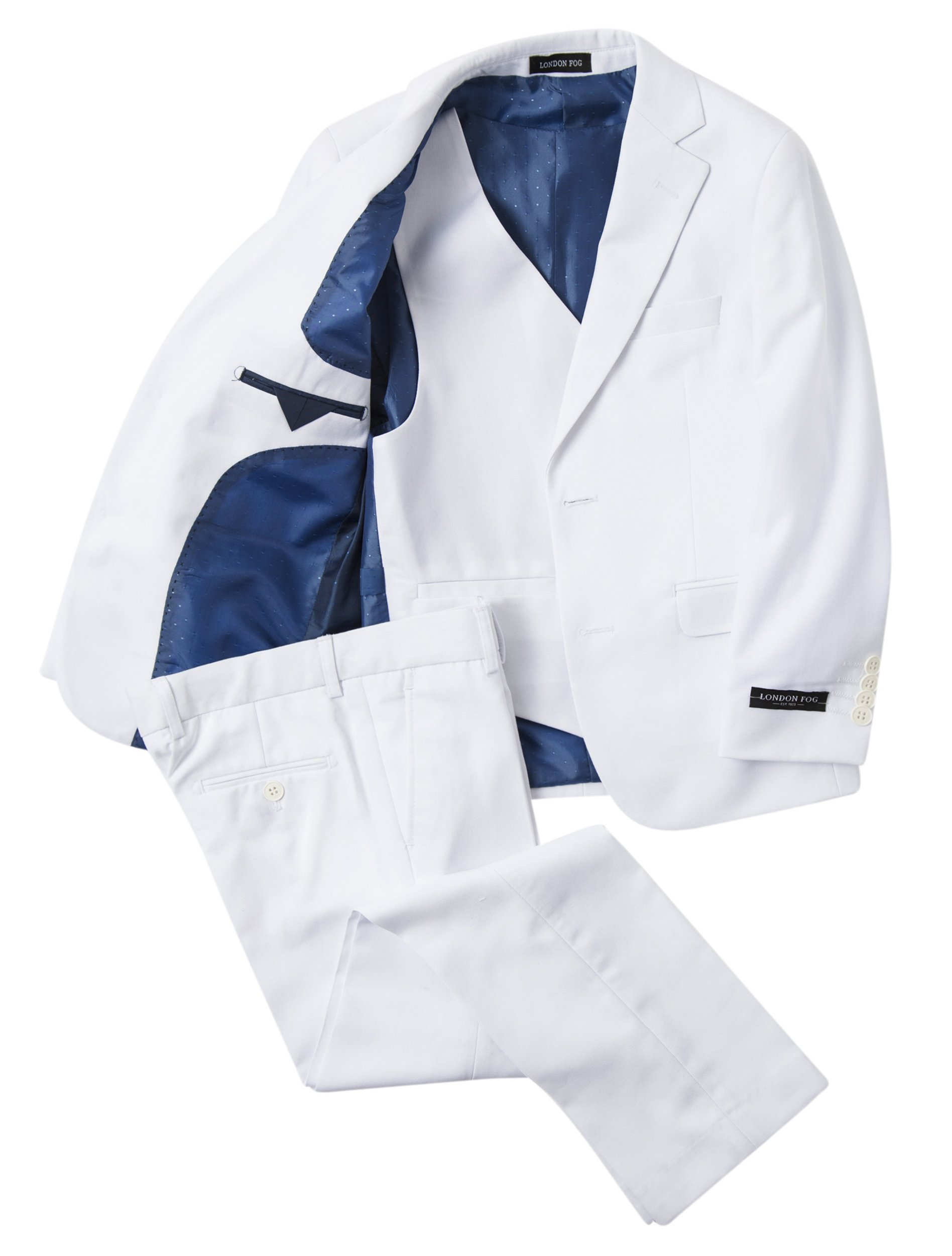 London Fog Boy's Modern Fit 3-Piece Formal Luxury Suit Set - White - 8