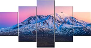 Art Work for Home Walls Mount St. Helens National Volcanic Monument,Washington Paintings Landscape Pictures 5 Piece Canvas Wall Art Artwork Home Decor for Living Room Framed Ready to Hang(60''Wx32''H)