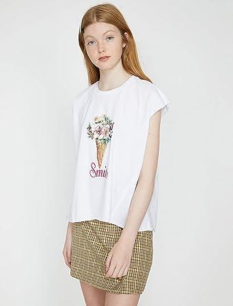 fbdbe0cd67b1b Koton Kadın Tişört, Kirli Beyaz, X-S (Üretici ölçüsü: XS)