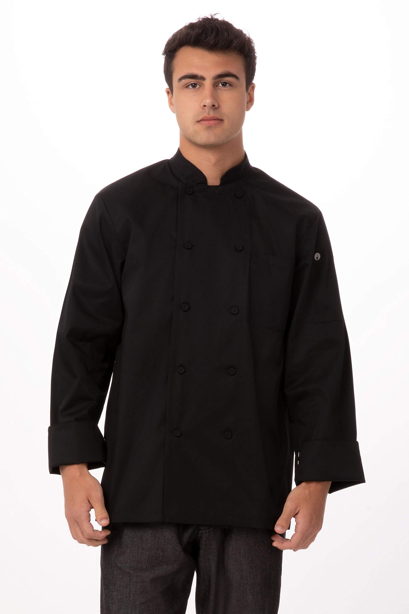 Chef Works Men's Calgary Cool Vent Chef Coat, Black, 4X-Large by Chef Works