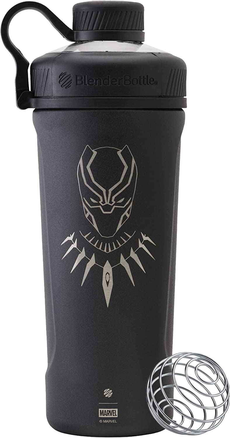 BlenderBottle Marvel Comics Radian Insulated Stainless Steel 26-Ounce Shaker Bottle, Black Panther