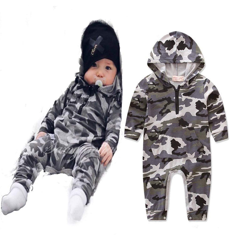 Toddler Baby Boy Long Sleeve Onesie Camo Hoodies Romper Jumpsuit